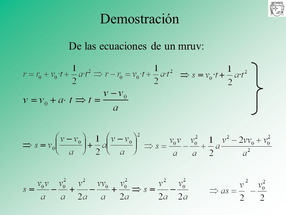 De las ecuaciones de un mruv: Demostración