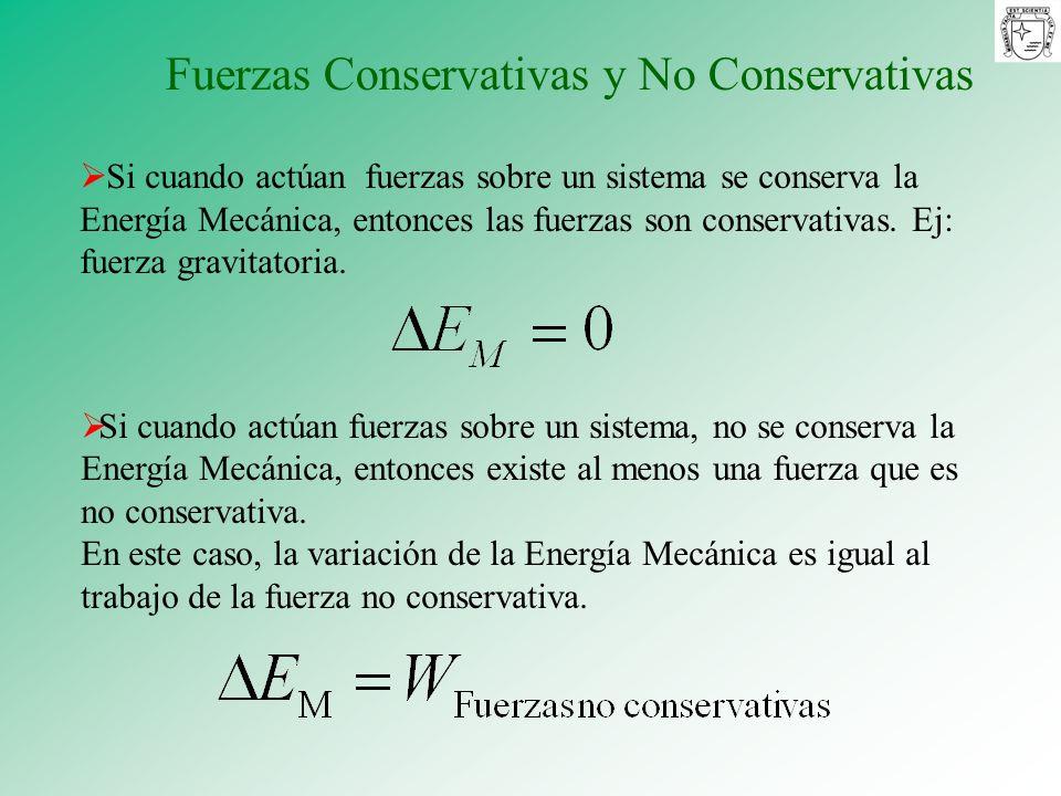 Si cuando actúan fuerzas sobre un sistema se conserva la Energía Mecánica, entonces las fuerzas son conservativas. Ej: fuerza gravitatoria. Si cuando