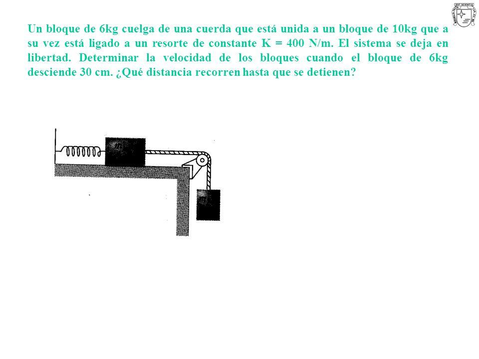 Un bloque de 6kg cuelga de una cuerda que está unida a un bloque de 10kg que a su vez está ligado a un resorte de constante K = 400 N/m. El sistema se