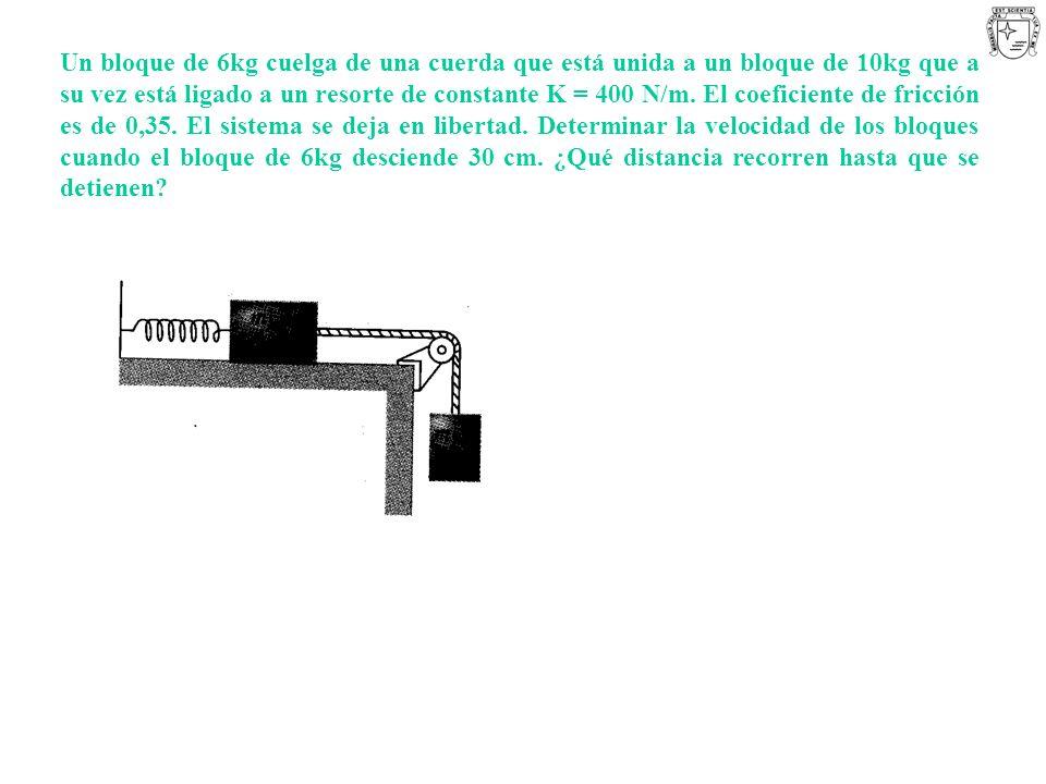 Un bloque de 6kg cuelga de una cuerda que está unida a un bloque de 10kg que a su vez está ligado a un resorte de constante K = 400 N/m. El coeficient