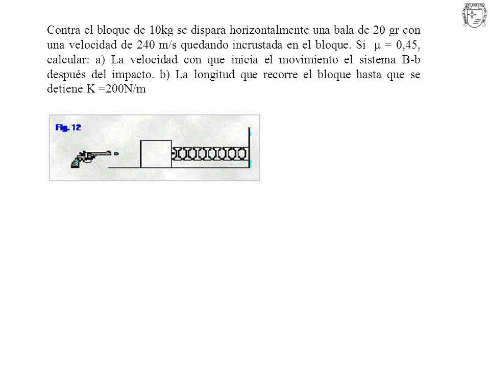 Contra el bloque de 10kg se dispara horizontalmente una bala de 20 gr con una velocidad de 240 m/s quedando incrustada en el bloque. Si μ = 0,45, calc