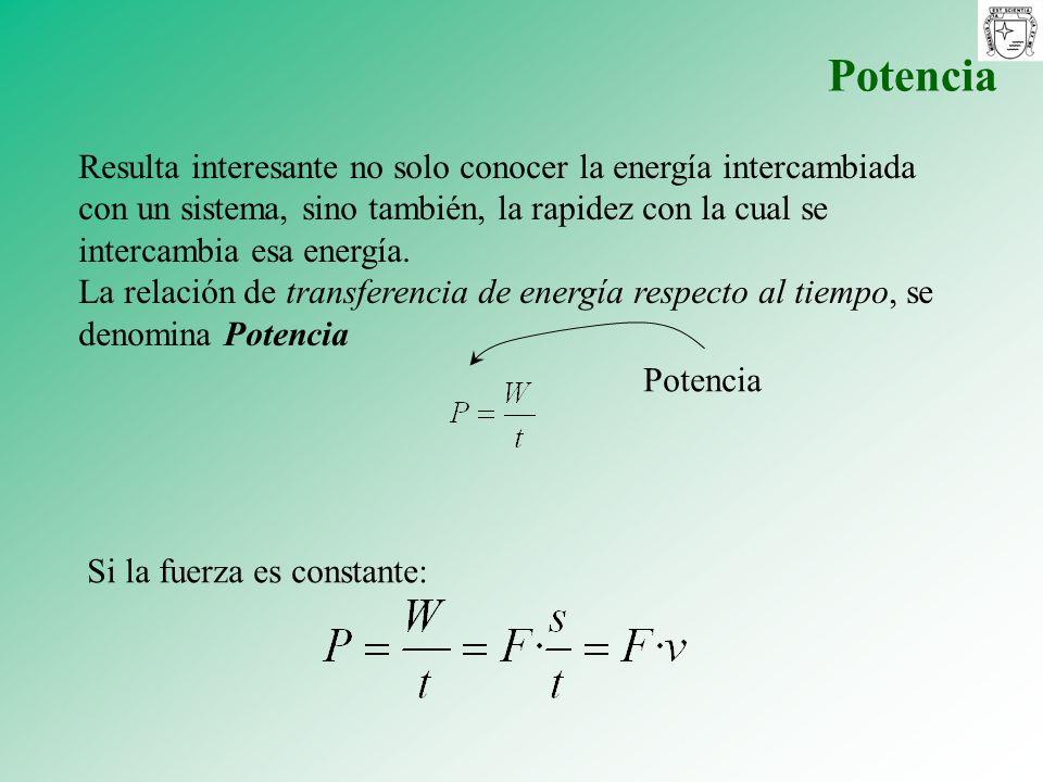 Potencia Resulta interesante no solo conocer la energía intercambiada con un sistema, sino también, la rapidez con la cual se intercambia esa energía.