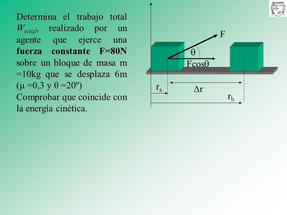 Determina el trabajo total W total, realizado por un agente que ejerce una fuerza constante F=80N sobre un bloque de masa m =10kg que se desplaza 6m (