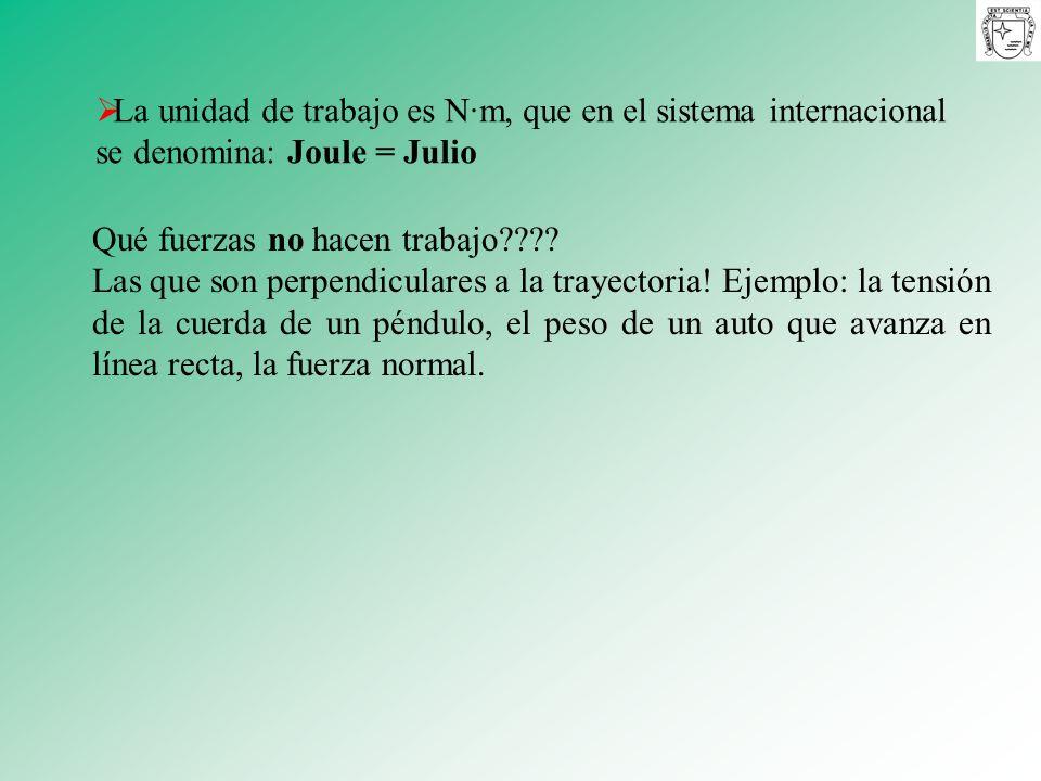 La unidad de trabajo es N·m, que en el sistema internacional se denomina: Joule = Julio Qué fuerzas no hacen trabajo???? Las que son perpendiculares a