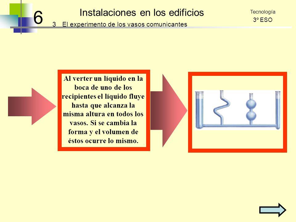 6 Instalaciones en los edificios 3 Tecnología 3º ESO El experimento de los vasos comunicantes Al verter un líquido en la boca de uno de los recipiente