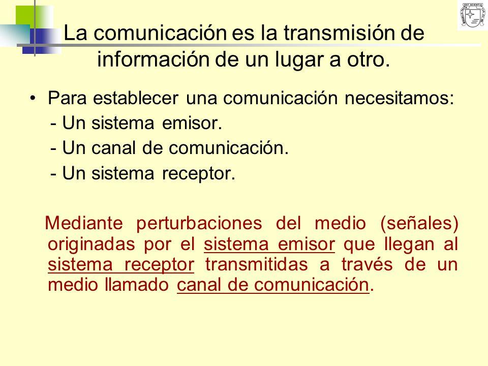 La comunicación es la transmisión de información de un lugar a otro. Para establecer una comunicación necesitamos: - Un sistema emisor. - Un canal de