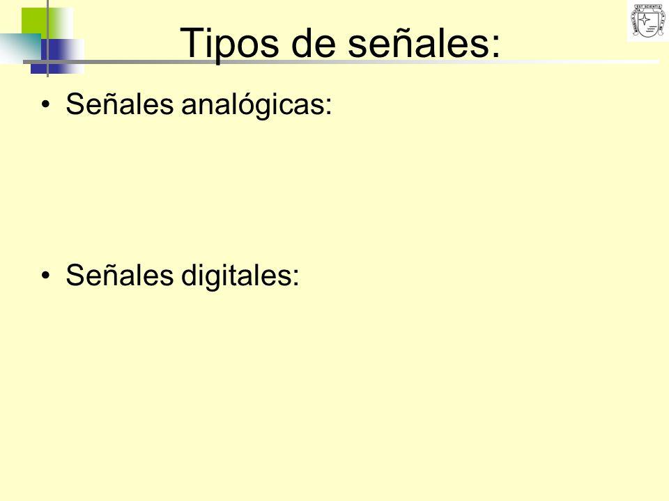 Tipos de señales: Señales analógicas: Señales digitales: