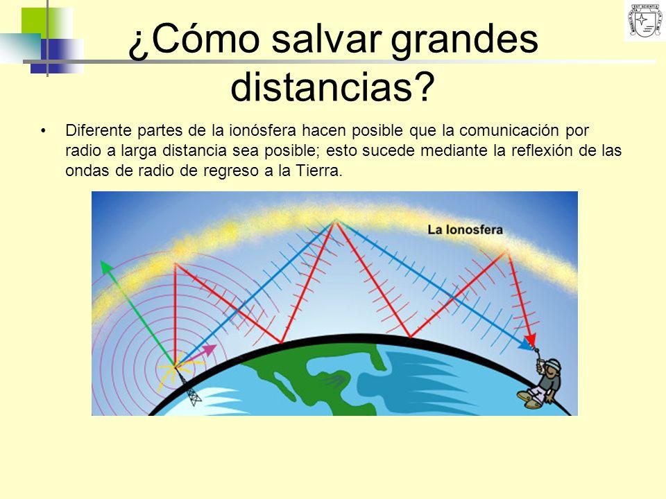 ¿Cómo salvar grandes distancias? Diferente partes de la ionósfera hacen posible que la comunicación por radio a larga distancia sea posible; esto suce