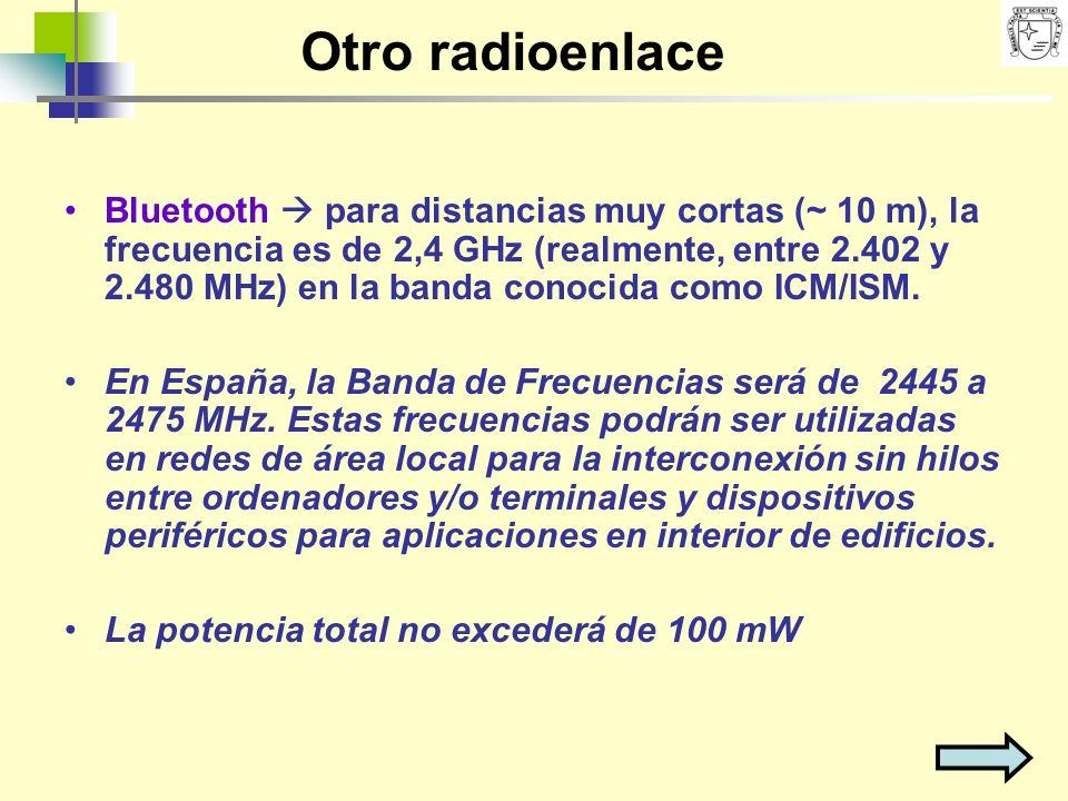 Otro radioenlace Bluetooth para distancias muy cortas (~ 10 m), la frecuencia es de 2,4 GHz (realmente, entre 2.402 y 2.480 MHz) en la banda conocida