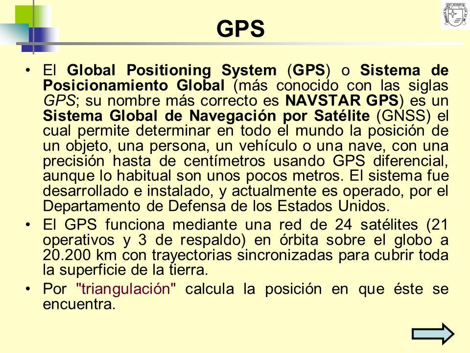 GPS El Global Positioning System (GPS) o Sistema de Posicionamiento Global (más conocido con las siglas GPS; su nombre más correcto es NAVSTAR GPS) es