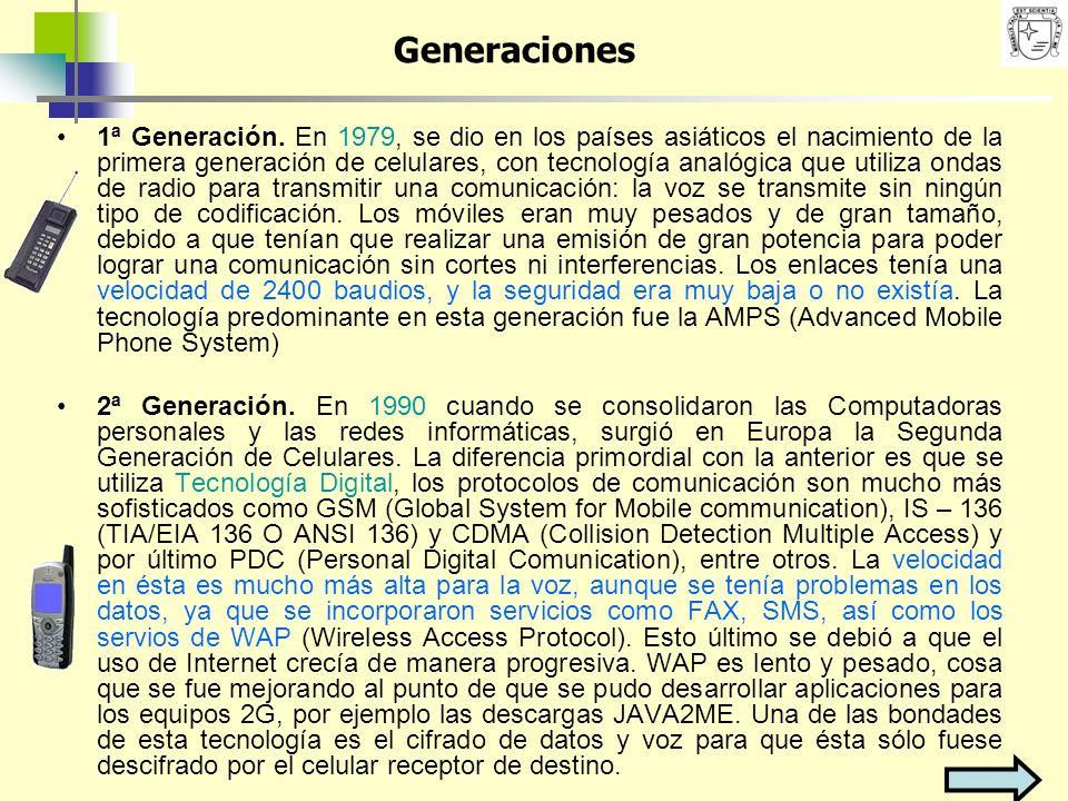 1ª Generación. En 1979, se dio en los países asiáticos el nacimiento de la primera generación de celulares, con tecnología analógica que utiliza ondas