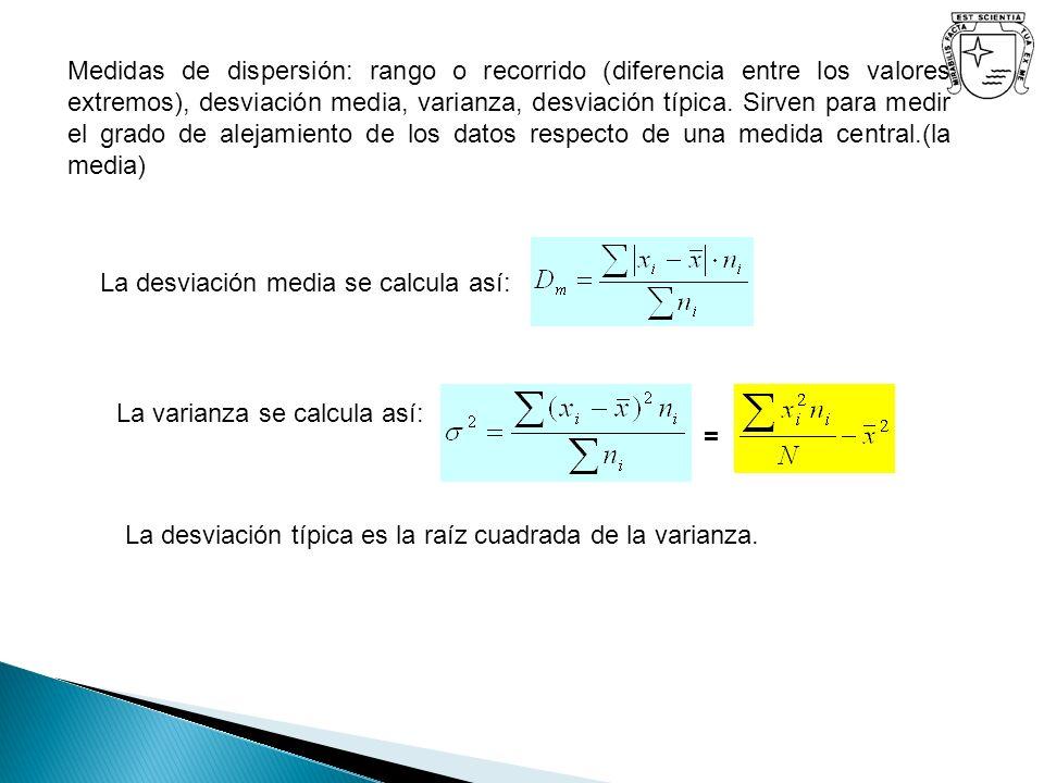Medidas de dispersión: rango o recorrido (diferencia entre los valores extremos), desviación media, varianza, desviación típica. Sirven para medir el
