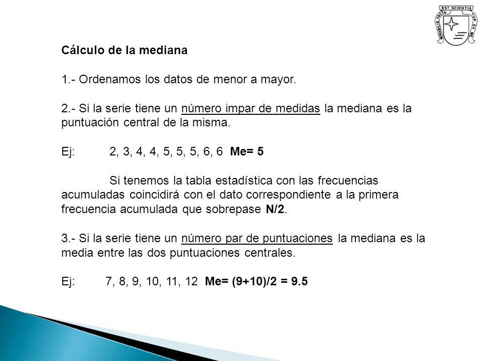 Cálculo de la mediana 1.- Ordenamos los datos de menor a mayor. 2.- Si la serie tiene un número impar de medidas la mediana es la puntuación central d
