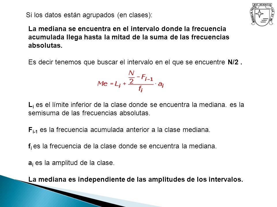L i es el límite inferior de la clase donde se encuentra la mediana. es la semisuma de las frecuencias absolutas. F i-1 es la frecuencia acumulada ant