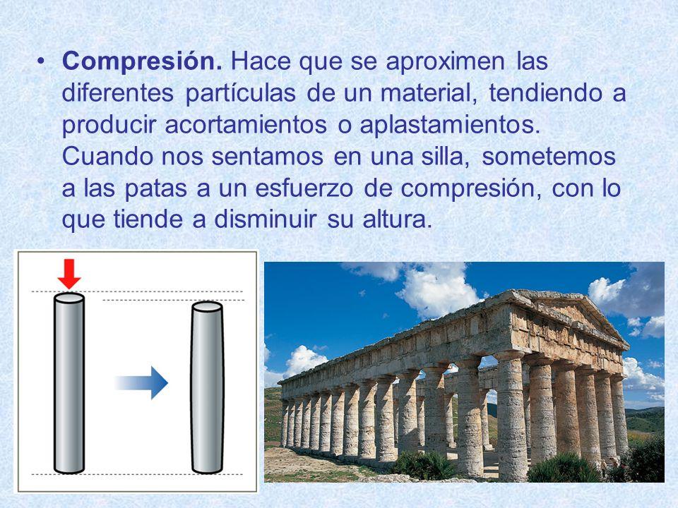 Compresión. Hace que se aproximen las diferentes partículas de un material, tendiendo a producir acortamientos o aplastamientos. Cuando nos sentamos e