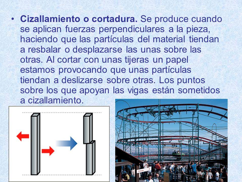 Cizallamiento o cortadura. Se produce cuando se aplican fuerzas perpendiculares a la pieza, haciendo que las partículas del material tiendan a resbala