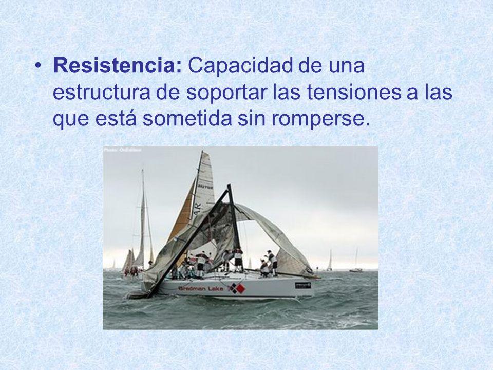 Resistencia: Capacidad de una estructura de soportar las tensiones a las que está sometida sin romperse.