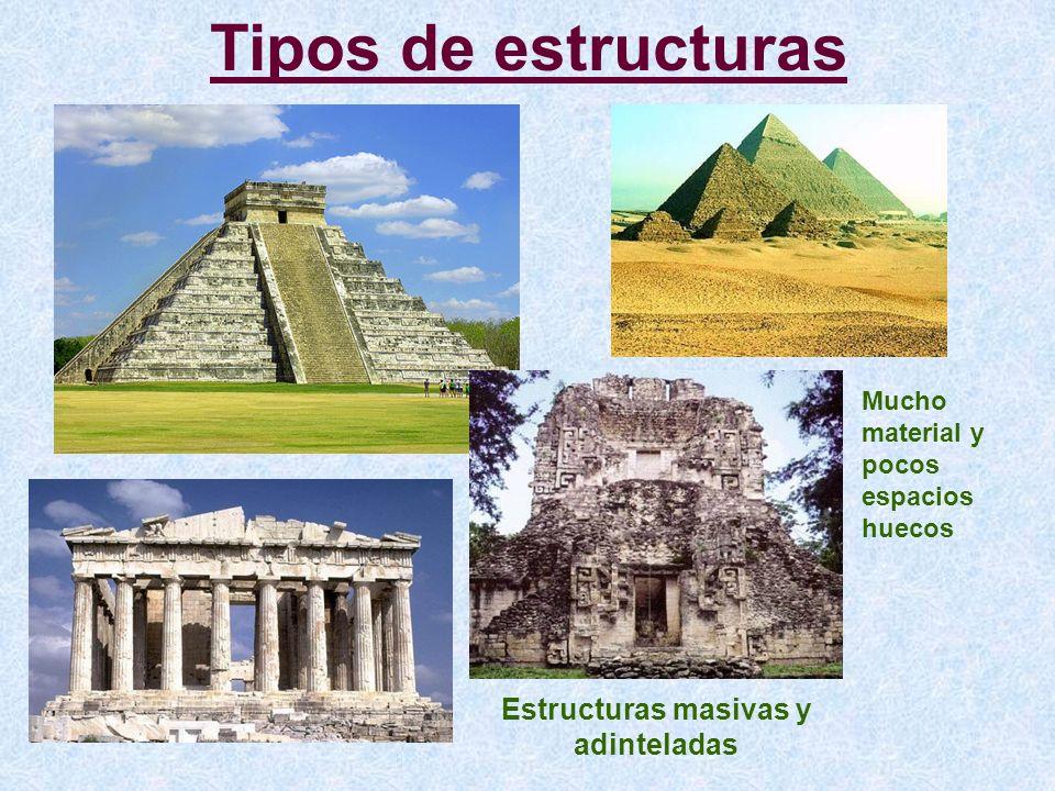 Tipos de estructuras Estructuras masivas y adinteladas Mucho material y pocos espacios huecos
