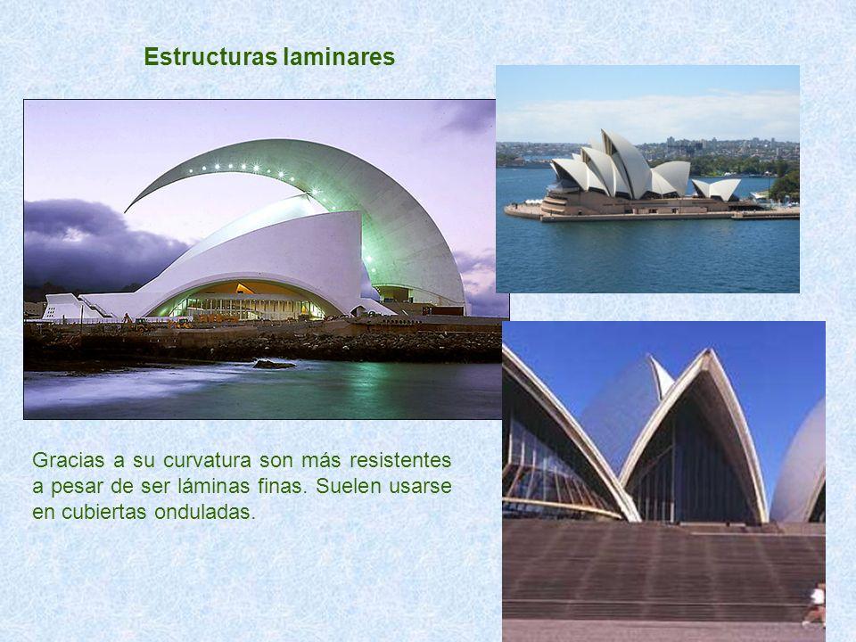 Estructuras laminares Gracias a su curvatura son más resistentes a pesar de ser láminas finas. Suelen usarse en cubiertas onduladas.