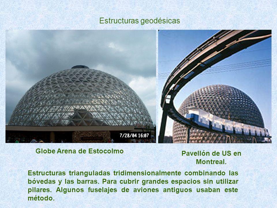 Estructuras geodésicas Estructuras trianguladas tridimensionalmente combinando las bóvedas y las barras. Para cubrir grandes espacios sin utilizar pil