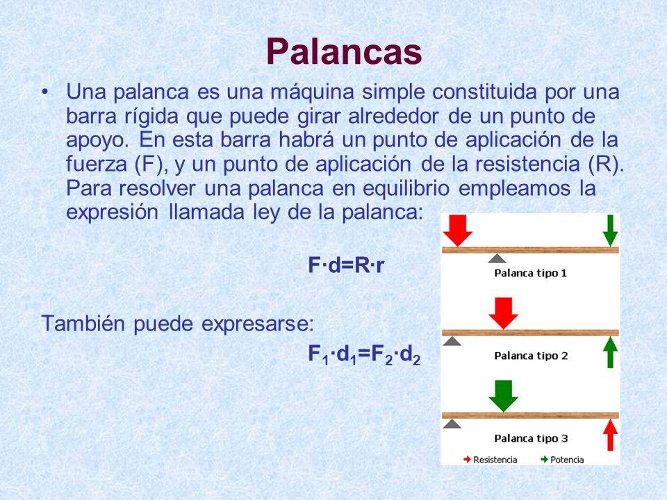 Palancas Una palanca es una máquina simple constituida por una barra rígida que puede girar alrededor de un punto de apoyo. En esta barra habrá un pun