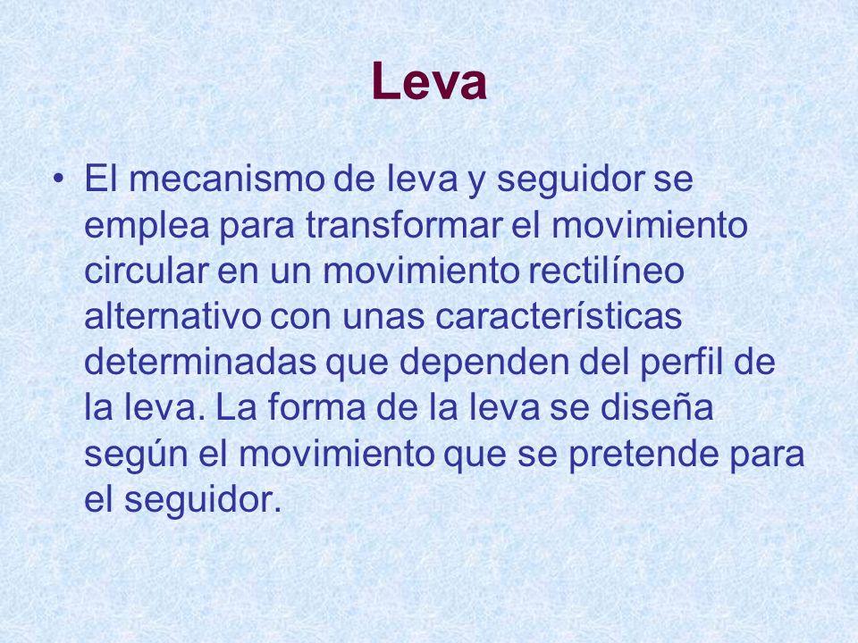 El mecanismo de leva y seguidor se emplea para transformar el movimiento circular en un movimiento rectilíneo alternativo con unas características det