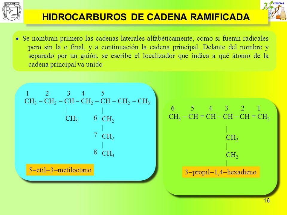 16 HIDROCARBUROS DE CADENA RAMIFICADA | CH 2 | CH 2 | CH 3 CH 3 CH = CH CH CH = CH 2 6 5 4 3 2 1 CH 3 CH 2 CH CH 2 CH CH 2 CH 3 | CH 3 1 2 3 4 5 67867