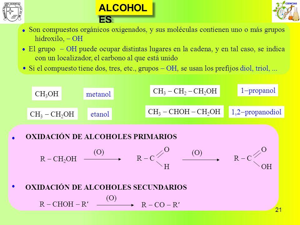 21 ALCOHOL ES OXIDACIÓN DE ALCOHOLES PRIMARIOS OXIDACIÓN DE ALCOHOLES SECUNDARIOS Son compuestos orgánicos oxigenados, y sus moléculas contienen uno o