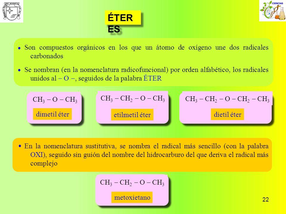 22 ÉTER ES CH 3 CH 2 O CH 3 CH 3 CH 2 O CH 2 CH 3 CH 3 CH 2 O CH 3 CH 3 O CH 3 Son compuestos orgánicos en los que un átomo de oxígeno une dos radical