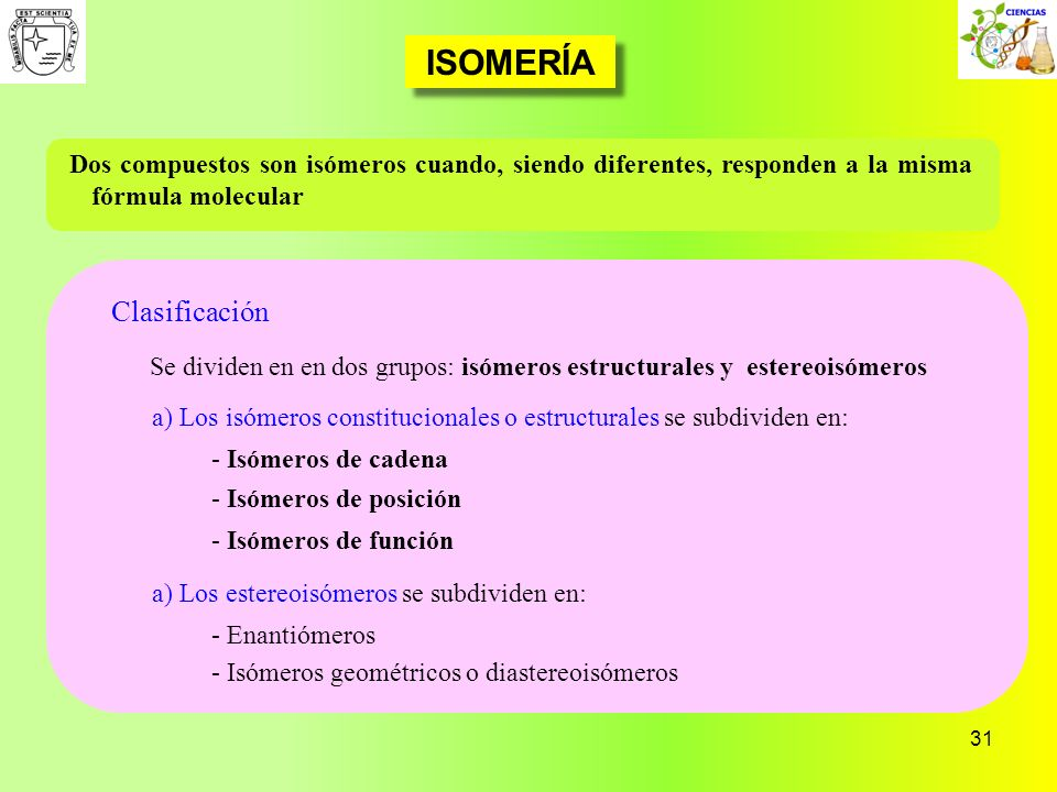 31 ISOMERÍA Clasificación Dos compuestos son isómeros cuando, siendo diferentes, responden a la misma fórmula molecular Se dividen en en dos grupos: i