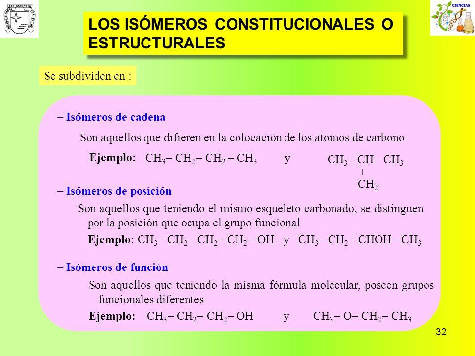 32 LOS ISÓMEROS CONSTITUCIONALES O ESTRUCTURALES Isómeros de cadena Isómeros de posición Isómeros de función Se subdividen en : Son aquellos que difie
