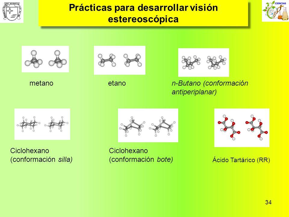 34 Prácticas para desarrollar visión estereoscópica metanoetanon-Butano (conformación antiperiplanar) Ciclohexano (conformación silla) Ciclohexano (co