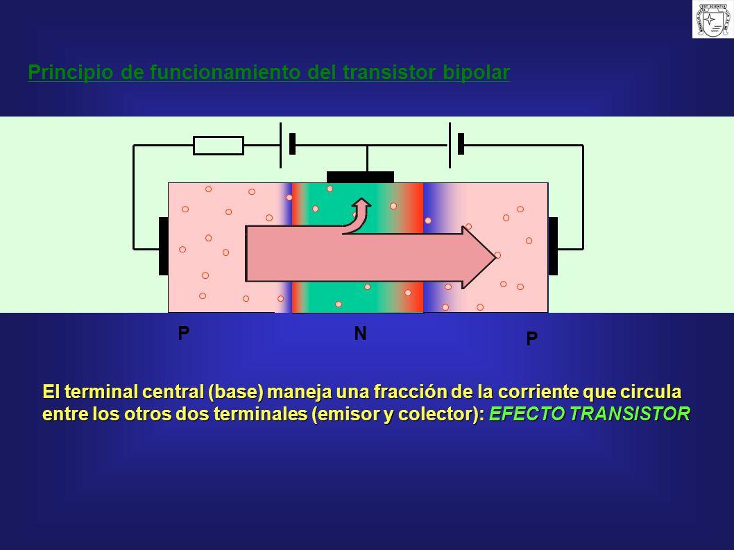 N P P El terminal central (base) maneja una fracción de la corriente que circula entre los otros dos terminales (emisor y colector): EFECTO TRANSISTOR