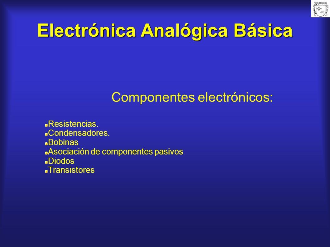 Electrónica Analógica Básica Componentes electrónicos: Resistencias. Condensadores. Bobinas Asociación de componentes pasivos Diodos Transistores