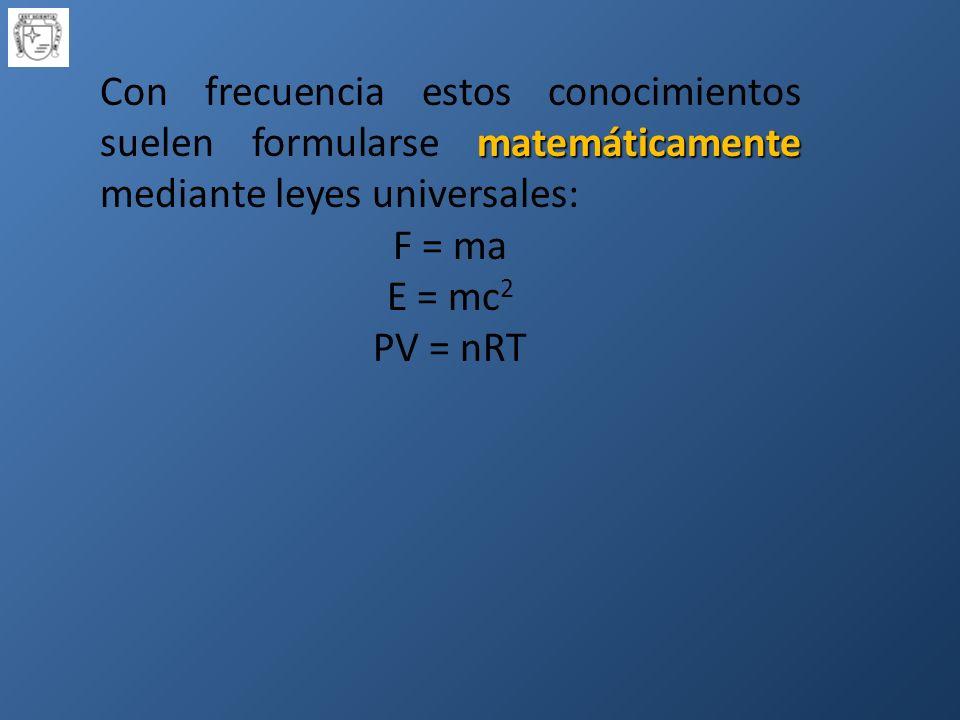 matemáticamente Con frecuencia estos conocimientos suelen formularse matemáticamente mediante leyes universales: F = ma E = mc 2 PV = nRT