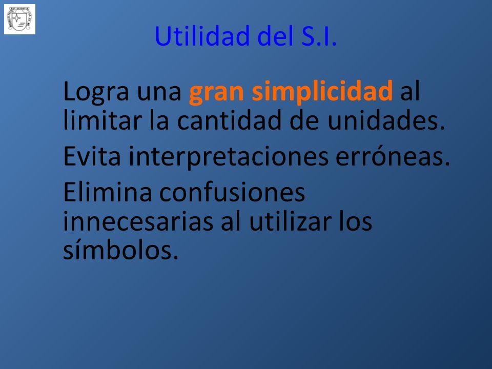 Utilidad del S.I.Logra una gran simplicidad al limitar la cantidad de unidades.