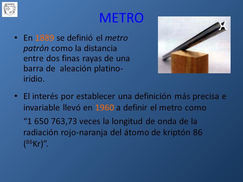METRO En 1889 se definió el metro patrón como la distancia entre dos finas rayas de una barra de aleación platino- iridio.