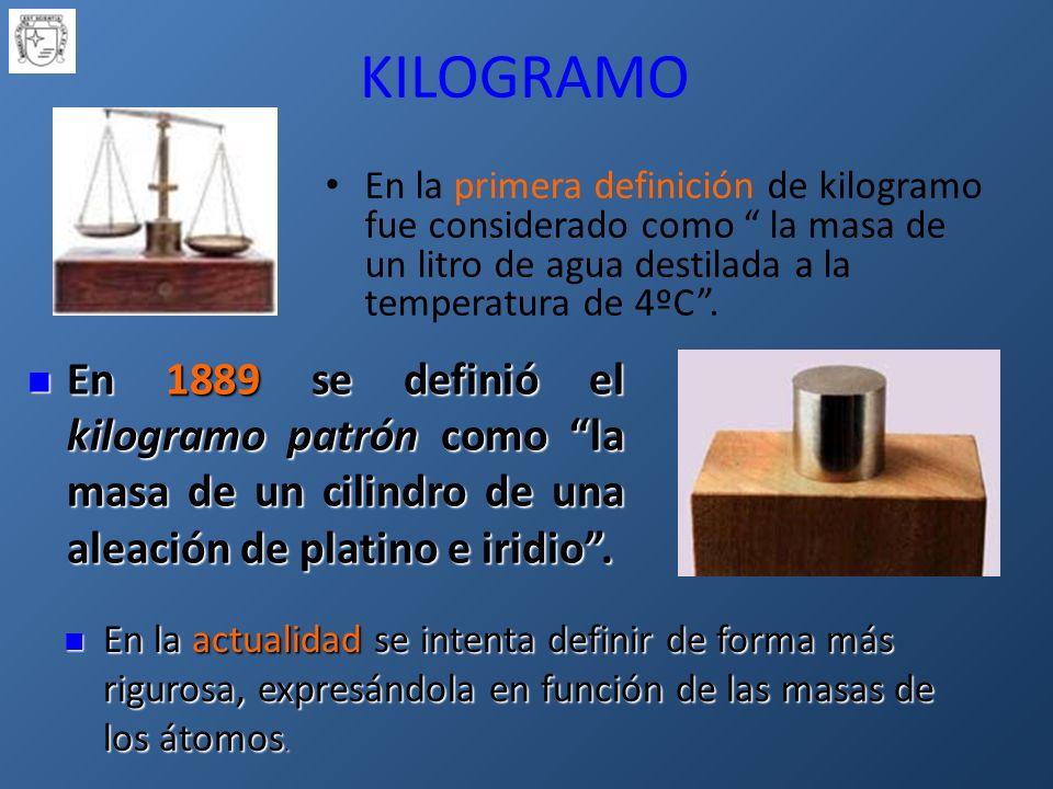 KILOGRAMO En la primera definición de kilogramo fue considerado como la masa de un litro de agua destilada a la temperatura de 4ºC.