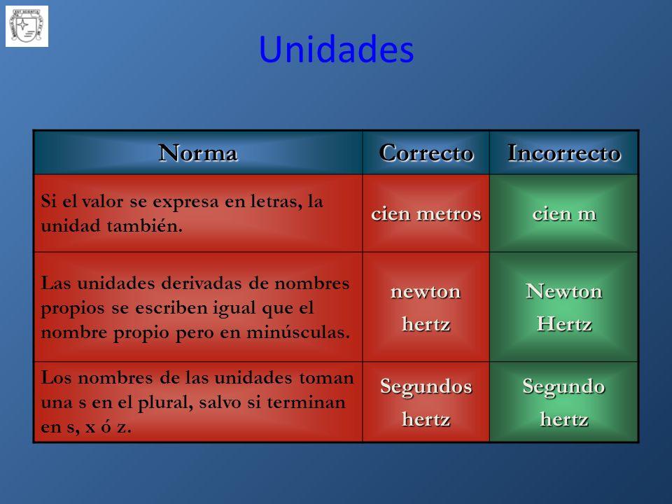NormaCorrectoIncorrecto Si el valor se expresa en letras, la unidad también.