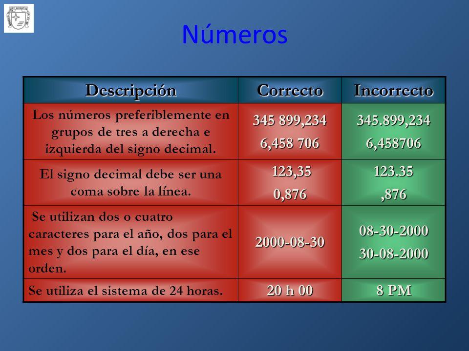 DescripciónCorrectoIncorrecto Los números preferiblemente en grupos de tres a derecha e izquierda del signo decimal.
