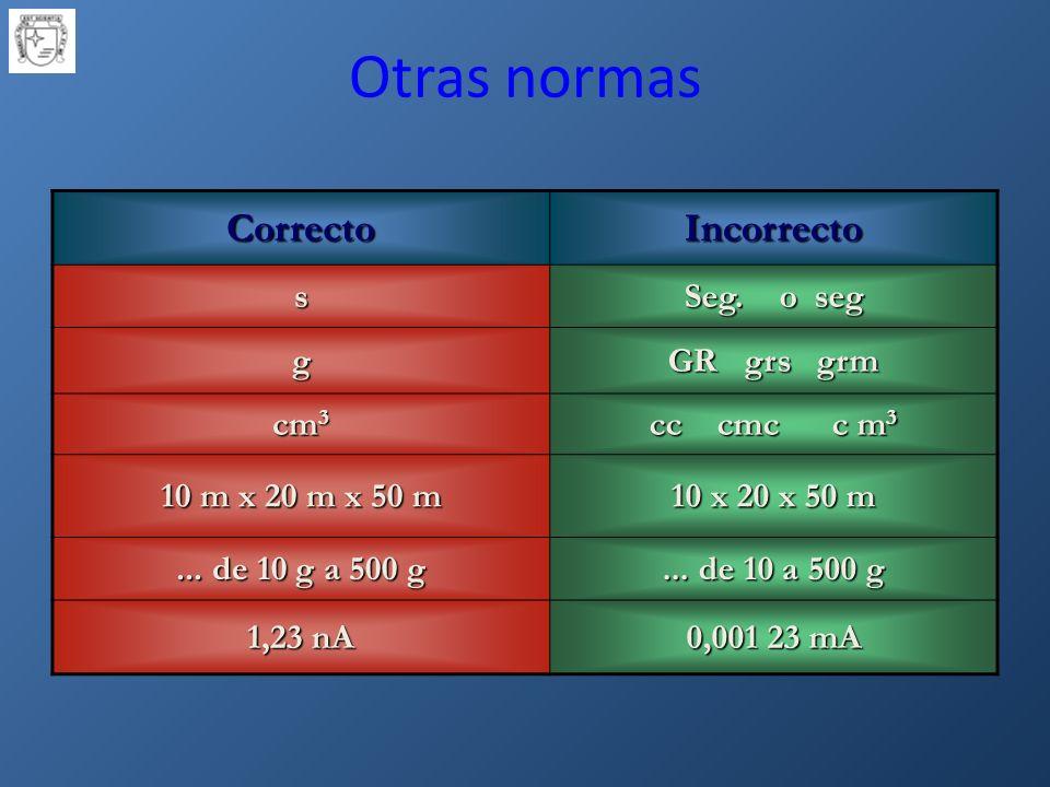 CorrectoIncorrecto s Seg.o seg g GR grs grm cm 3 cc cmc c m 3 10 m x 20 m x 50 m 10 x 20 x 50 m...