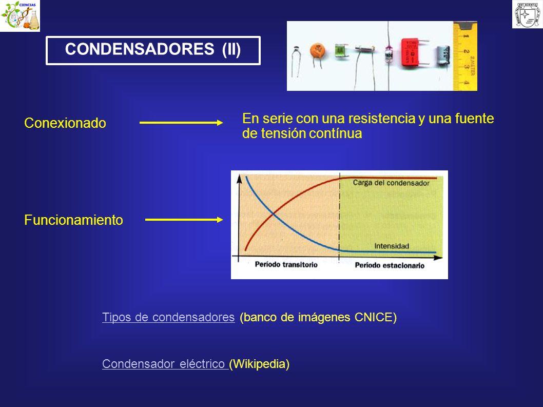 CONDENSADORES (II) En serie con una resistencia y una fuente de tensión contínua Conexionado Funcionamiento Tipos de condensadoresTipos de condensador
