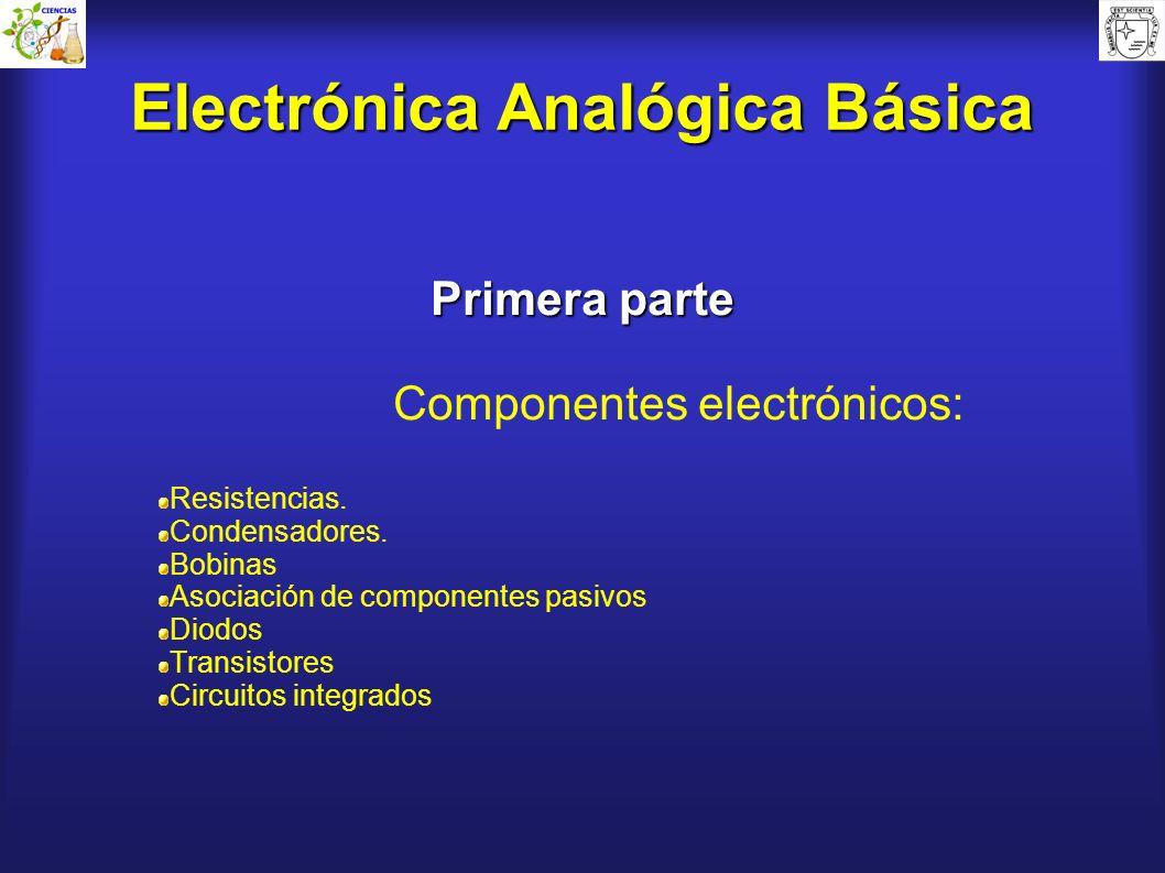 Electrónica Analógica Básica Primera parte Componentes electrónicos: Resistencias. Condensadores. Bobinas Asociación de componentes pasivos Diodos Tra