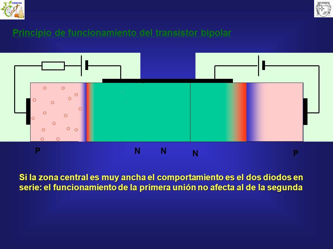 N Principio de funcionamiento del transistor bipolar P N N P Si la zona central es muy ancha el comportamiento es el dos diodos en serie: el funcionam