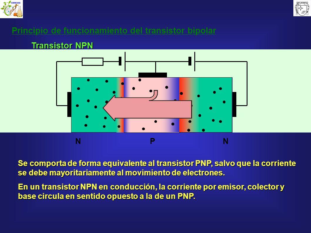 P Principio de funcionamiento del transistor bipolar NN Se comporta de forma equivalente al transistor PNP, salvo que la corriente se debe mayoritaria