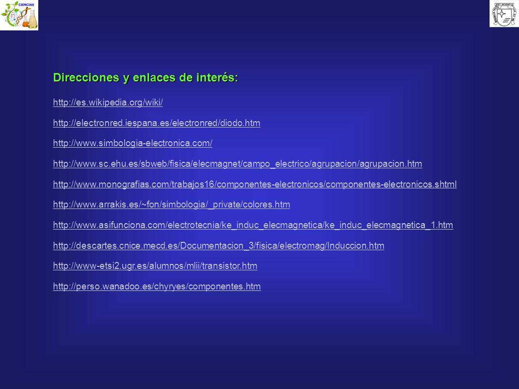 Direcciones y enlaces de interés: http://es.wikipedia.org/wiki/ http://electronred.iespana.es/electronred/diodo.htm http://www.simbologia-electronica.