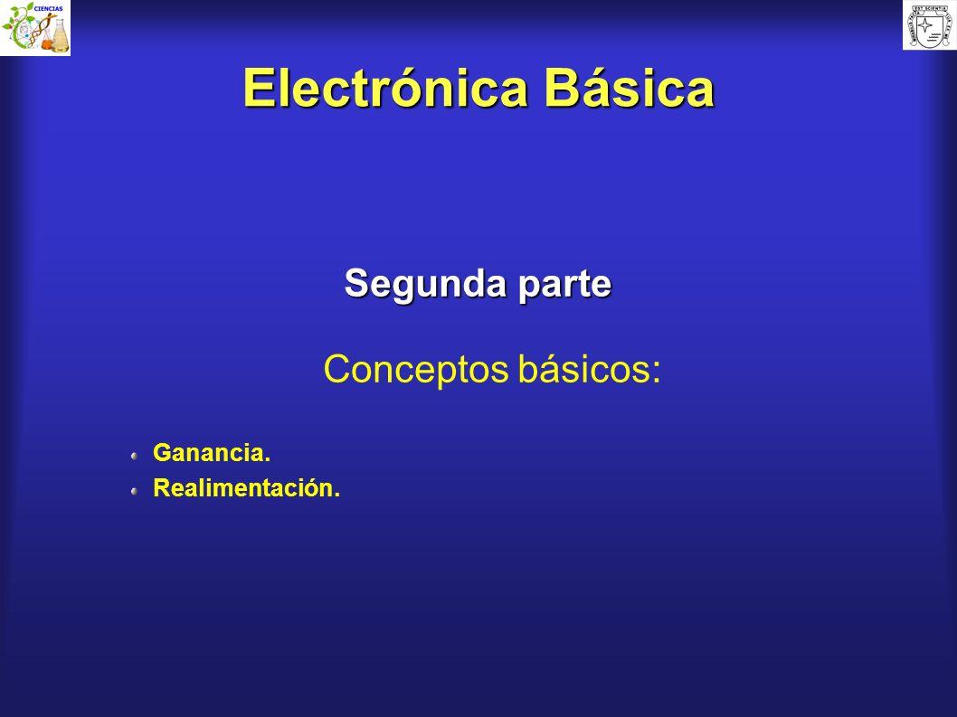 Electrónica Básica Segunda parte Conceptos básicos: Ganancia. Realimentación.