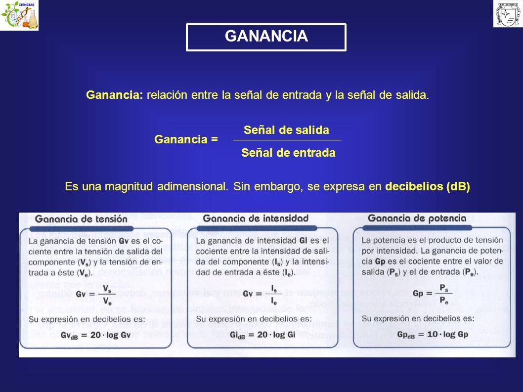 GANANCIA Ganancia: relación entre la señal de entrada y la señal de salida. Es una magnitud adimensional. Sin embargo, se expresa en decibelios (dB) G