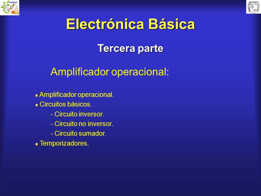 Electrónica Básica Tercera parte Amplificador operacional: Amplificador operacional. Circuitos básicos. - Circuito inversor. - Circuito no inversor. -