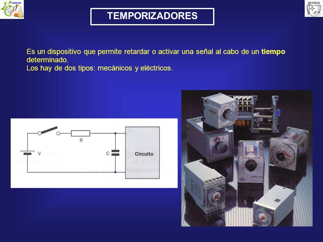 TEMPORIZADORES Es un dispositivo que permite retardar o activar una señal al cabo de un tiempo determinado. Los hay de dos tipos: mecánicos y eléctric